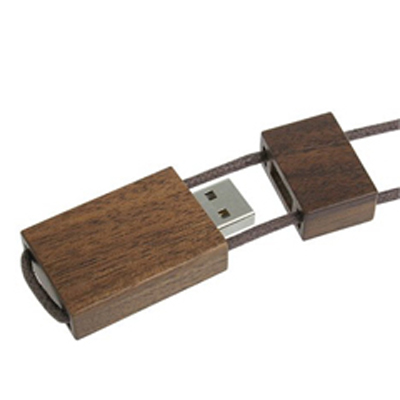 Wood USB with Leather Lanyard